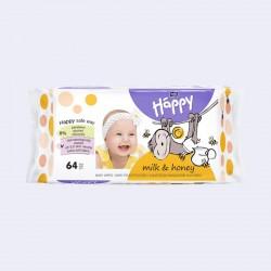 Lingettes bébé Happy au miel et au lait