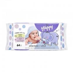 Lingettes bébé Happy à la vitamine E et à l'allantoïne